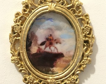 sargent - copy - OOAK historical painting in gilt carved resin  Frame - Dollhouse Size