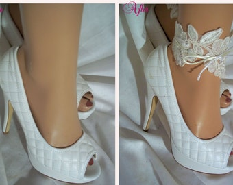 Pair Of Beautiful Ivory Lace Sequined Ankle Glams, Anklets, Ankle Bracelets, Bridal Accessories, Bridal Shoe Accessories, Bridal Leg Wear