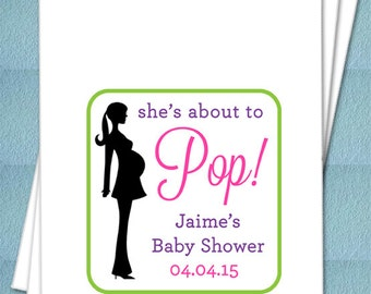She's About To Pop Mother To Be Silhouette Personalized Favor Bags For Popcorn - Baby Shower Favors, Popcorn/Caramel Corn Bar - Set of 25