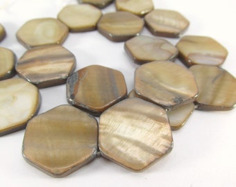 Large 20mm Light Brown Beige Tan Mother of Pearl Flat Hexagon Shell Jewelry Beads