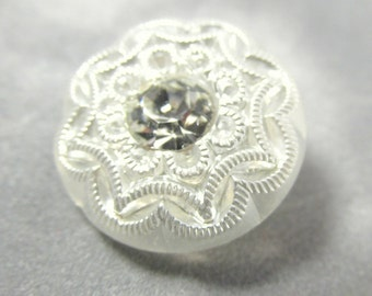 Filigree White Czech Glass 18mm Button with Clear Crystal center for Jewelry Toggle or Decor