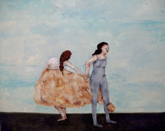 "Giclee print. Women art. Figurative art. figures in landscape art. wall decor ""Crossroads"""