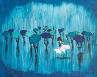 Rain Art, Girl Dancing in the Rain Print, Dance In The Rain – MOUNTED to wood panel