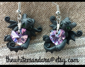Toothless Purple Heart Night Fury Earrings