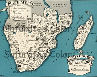 South Africa Map ORIGINAL 1932 Vintage Picture Map Geography - Pictorial Fun Charming Antique Paul Spener Johst Whimsical Cape Town Durban