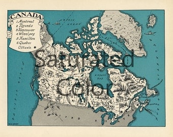CANADA Map Digital Download vintage picture map - DIY print & frame 8x10 orFor Pillows Totes Cards Wedding Paul Spener Johst Charming