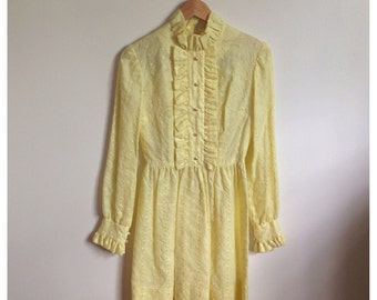 Vintage 60s/70s yellow ruffled dress