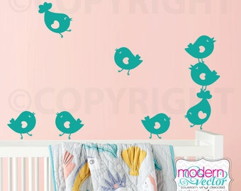 Birds Vinyl Wall Decal Group of 8 Little Birds Girls Room Playroom Nursery Cute Birds