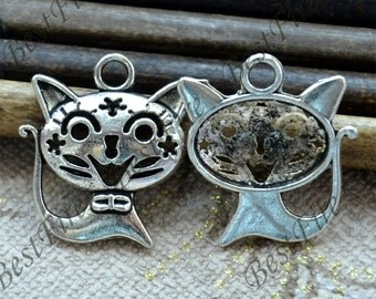 8 PCS of 21x24MM Antique silver smile cat Charms Pendant,pendant beads,jewelry findings,cat Charms Fingdings pendant
