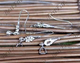 6 pcs of platina tone brass ear clip screw 5x30mm,earring findings,ear clip findings,Crystal Cubic Zirconia Fishhook Earring Findings C1116