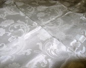 "SPARKLiNG WHiTE DAMASK FABRiC 2/3 YARD x 66"" WiDE"