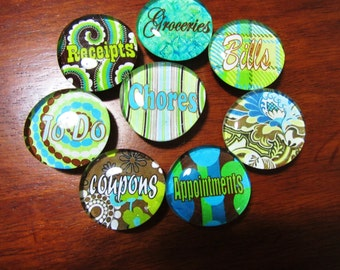 TURQUOISE, GREEN and BROWN Chic Organizational Magnets Set of 8