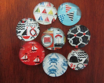 OCEAN, NAUTICAL, SAILBOAT, Seashore, Navy, Cruise, Seagoing, Maritime, Seafaring, Seaside Mega Magnets Big set of 8