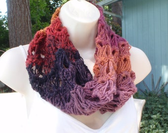 Purple Harvest Cowl Scarf Broomstick Crochet Purple Brown