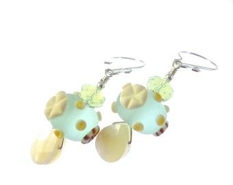 Lampwork Earrings, Seashell Glass Bead Earrings, Blue Beach Earrings, Glass Bead Jewelry, Beadwork Ocean Earrings, Lampwork Jewelry