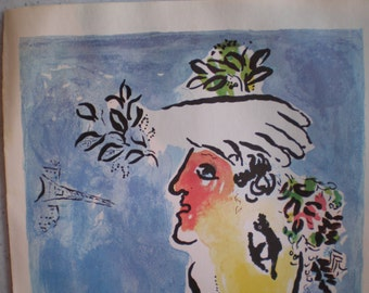Orignal Mid Century French Chagall Lithograph Poster