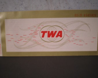 Vintage 1970's TWA Airlines - Baggage Check