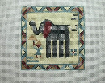 Elephant Handpainted Needlepoint Design*