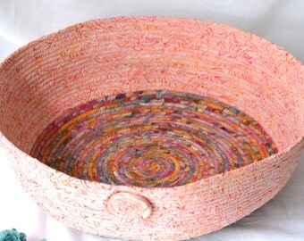 Storage Organizer Basket, Handmade Peach Batik Container, Modern Peachy Pet Bed, Coral Batik Cat Bed, Cat Bowl, Pet Bowl, Dog Bowl,