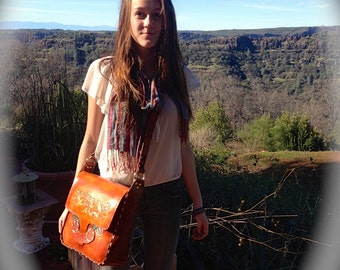 Purse / Bag / Women / Hand Carved and Tooled / Leather / Hand Crafted / Custom / Rose, Flowers / Humming Birds / Large - Messenger Bag /Girl