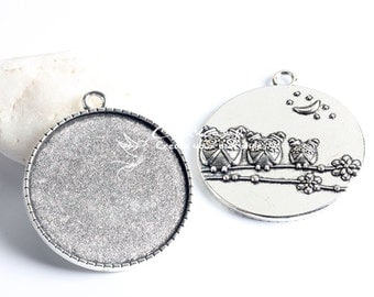 5Pcs 35mm  High Quality Antique Silver Round  Cabochon  Base frame Base Pendant  with Loop (SETHY-242)