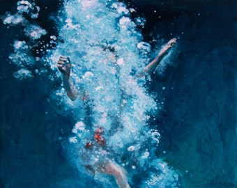 Art Print Deep blue Ocean Swimmer Art - Obliterated archival print of Painting Swimmer diving in deep blue and turquoise waters