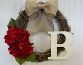 Handmade Red Hydrangea Monogram Grapevine Wreath with Burlap Bow