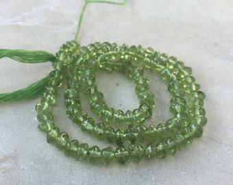Peridot Rondelle Beads, Peridot Rondelles, 13 inch strand, 4 to 4.5 mm approx.