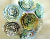 "Vintage map 2 to 2 1/4"" atlas spiral rolled  paper roses wedding bouquet destination wedding farmhouse country recyled flowers"
