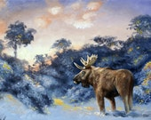 Moose painting by RUSTY RUST wildlife animal landscape 24x36 oils on canvas / M-372