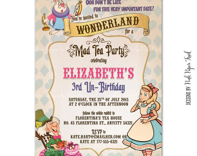 Alice in Wonderland Invitation, Birthday, Baby Shower, Bridal Shower, Party Invitation, Print Your Own, Digital Invitation