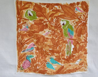 Vintage Vera Scarf Vera Neumann Scarf with Birds 1970s Brown Leaf Background Large Parrot Pink Toucan Turquoise Birds Square Polyester Scarf