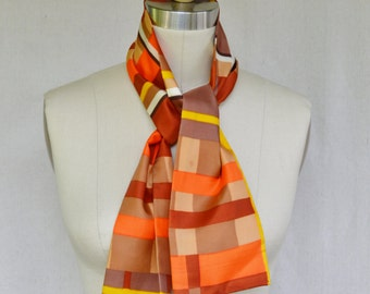 Vintage Neck Scarf or Head Scarf 1960s 1970s Acetate Scarf in Brown and Orange and Yellow Abstract Lines Thick Crisp Acetate Long Rectangle
