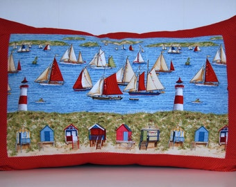 SALE, Beach Pillow, Sailboats and Lighthouse, Decorative Summer Accent Pillow