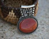 rustic pendant, pendant, vintage pendant, necklace, silver pendant, orange, brown
