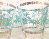 Mid-Century Equestrian Blue & Gold Low Ball Glasses