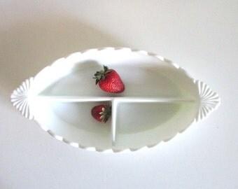 Vintage White Hobnail Divided Dish Milk Glass Fenton