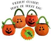 Trick or Treat Bag Quilted Pumpkin Personalized Halloween Bag Medium Custom Fabric Treat Bag
