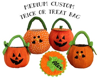 Trick or Treat Bag Quilted Pumpkin Personalized Halloween Bag Medium Custom Fabric Treat Bag
