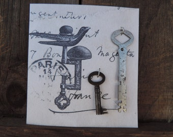 Antique Keys Free Shipping Set of 2 Skeleton Key Old on Display Card Door Collectible Craft Supply
