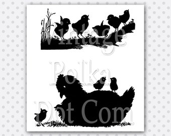 Clip Art Vintage Hen and Chick Silhouettes Clipart Printable Little Peeps Chicks Mother Hen Farm Chicken Digital Instant Download Scrapbook