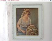 SHOP SALE Large Vintage Framed Textured Print Girl with Birds