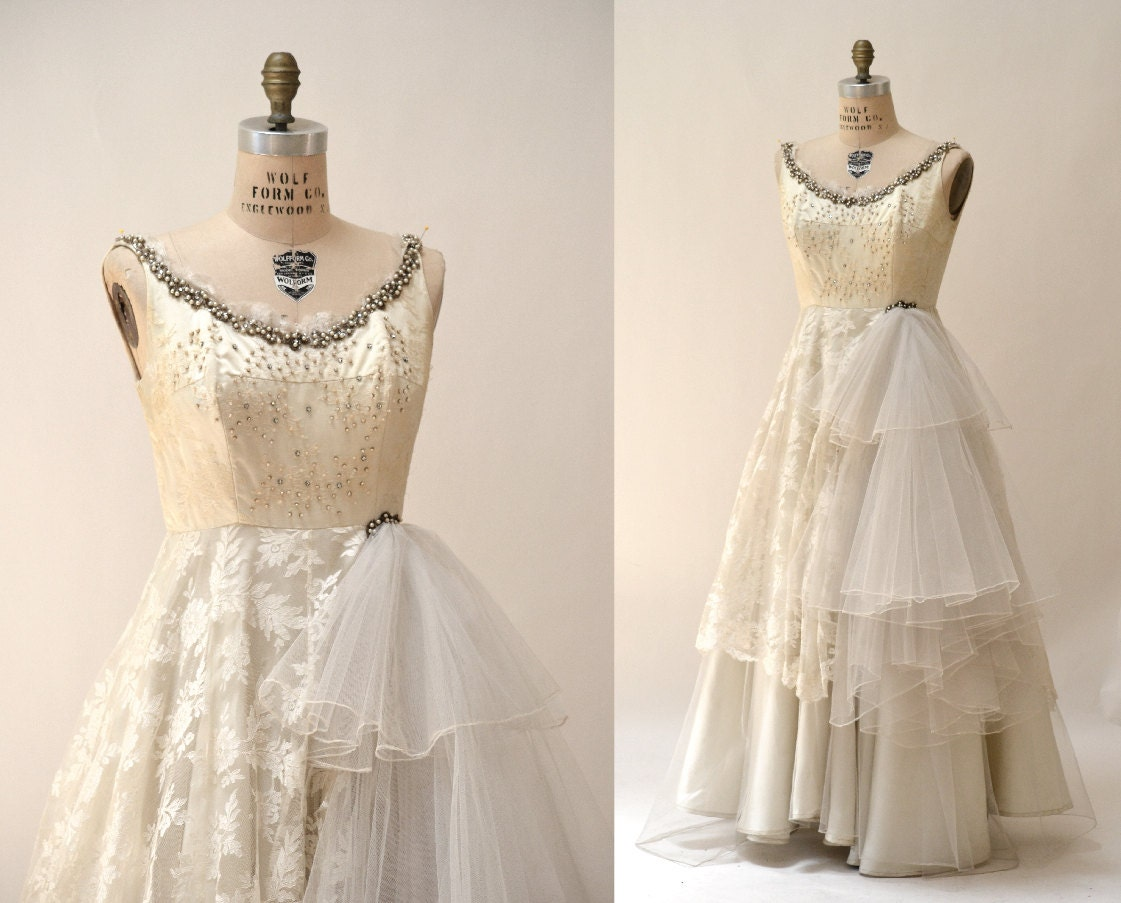 1940 40s Vintage Wedding Dress Size Small Cream By