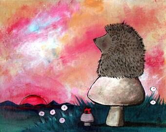 Hedgehog Mushroom Woodland Animals Kids Art Print Wall Nursery Decor Whimsical Storybook Artwork for Children