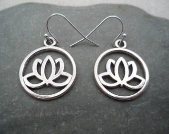 Silver Lotus Earrings - Yoga Jewelry - Silver Flower Earrings - Simple Everyday Jewelry