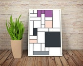 Must Love Boots - De Stijl Minimalist Inspired Cartoon Character Print // Color Blocks, Geometry, and Thin Line Grid Design
