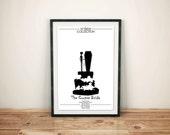 The Corpse Bride // Black and White Tim Burton and Jonny Deep Print // Coffin, Cake, and Figurine Fantasy Movie Poster