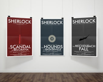 SAVE 5% - Consulting Detective Inspired 3-Print Series Part 2 // Minimalist Sherlock Prints with Lipstick, Landmine, & Feather Illustrations