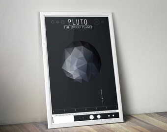 Pluto and its Moons // Human Space Exploration Infographic Print with Planetary Mission Timeline // Grey Low Poly Illustration