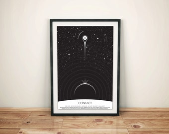 Visiting With Space Dad // Contact Alternative Movie Poster // Black and White Pod, Radio Waves and Star Illustration with Earth & the M